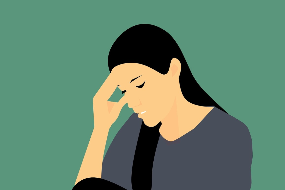 illustration of woman stressed